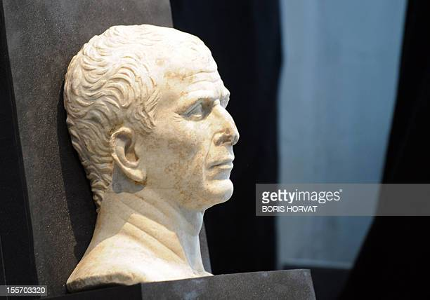 Picture taken on May 21 2008 in Arles southern France shows a bust of Julius Caesar which was found at the bottom of the River Rhone in Arles The...