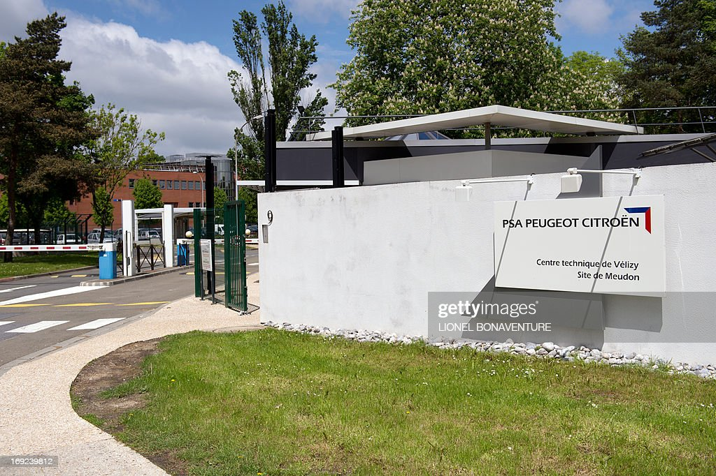 A picture taken on May 22, 2013 in Meudon shows the front of the technical site of France's car makers, PSA Peugeot-Citroen. The car maker, which just completed a major restructuring, examined on May 22, a proposed sale of its site in Meudon, whose 660 employees will be transferred to other sites, mainly in the Parisian area.
