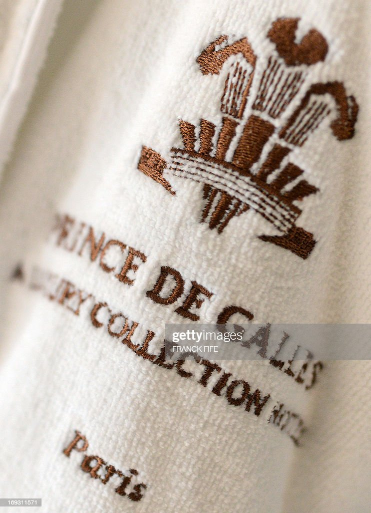 A picture taken on May 22, 2013 shows a detail of a bathrobe of the luxury hotel 'Prince de Galles' (Prince of Wales) in Paris. The Prince de Galles, on the Avenue George V in Paris reopened on May 16, 2013 under the 'Luxury Collection' brand after two years of renovation. The luxury hotel, with 159 rooms, a restaurant and bar, was built in 1928 and was closed since February 2011. The hotel received a fifth star on its reopening.