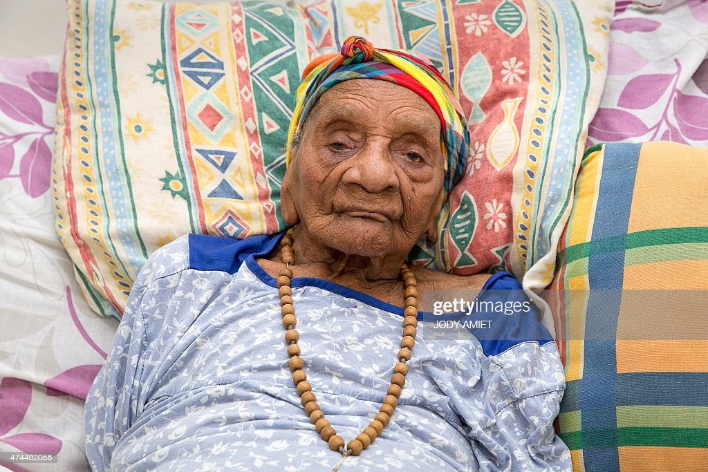 A picture taken on May 22 2015 in Matoury shows French supercentenarian and France's oldest living person in France Eudoxie Baboul 113 year and 8...