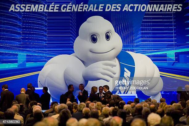 A picture taken on May 22 2015 shows people attending the General Assembly of Michelin group's shareholders in ClermontFerrand central France AFP...