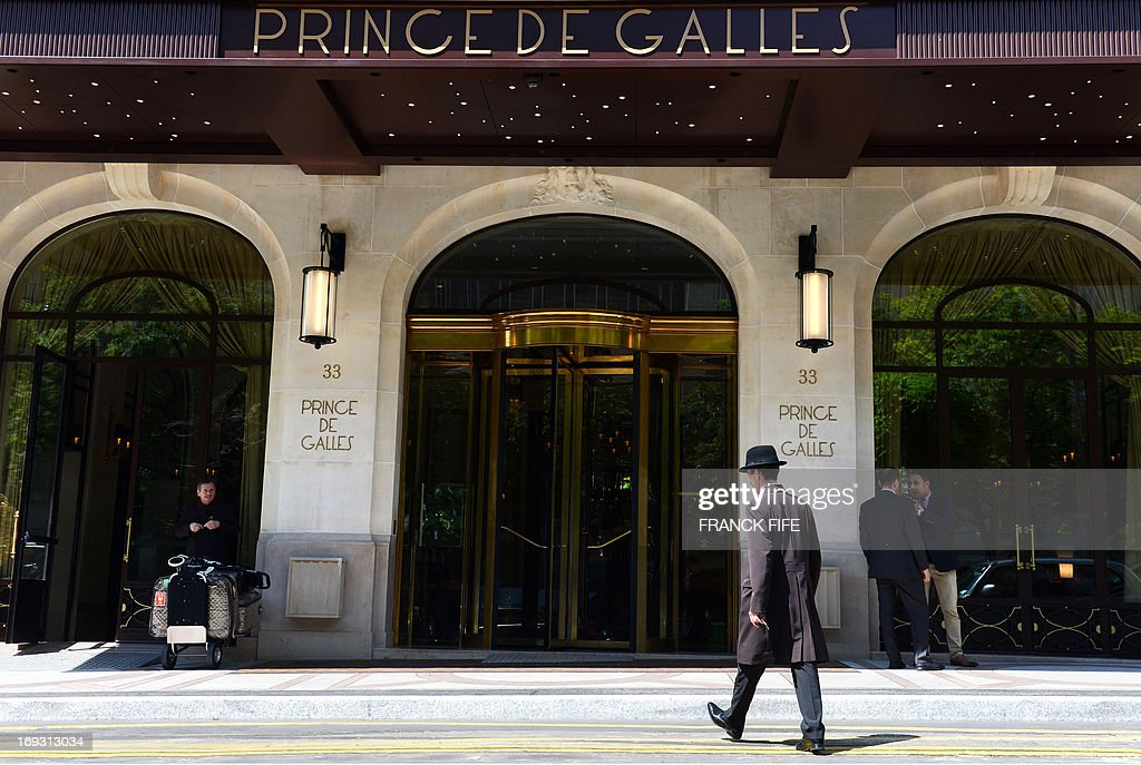 A picture taken on May 22, 2013, shows the exterior of luxury hotel 'Prince de Galles' (Prince of Wales) in Paris. The Prince de Galles, on the Avenue George V in Paris reopened on May 16, 2013 under the 'Luxury Collection' brand after two years of renovation. The luxury hotel, with 159 rooms, a restaurant and bar, was built in 1928 and was closed since February 2011. The hotel received a fifth star on its reopening.
