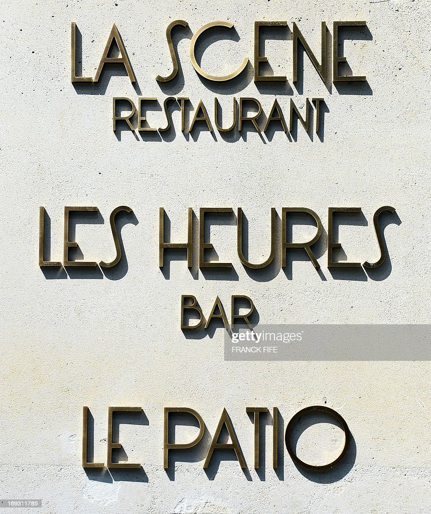 A picture taken on May 22, 2013, shows the sign for the restaurant and bar at the luxury hotel 'Prince de Galles' (Prince of Wales) in Paris. The Prince de Galles, on the Avenue George V in Paris reopened on May 16, 2013 under the 'Luxury Collection' brand after two years of renovation. The luxury hotel, with 159 rooms, a restaurant and bar, was built in 1928 and was closed since February 2011. The hotel received a fifth star on its reopening.