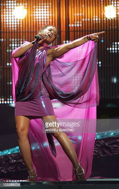 Picture taken on May 23 2008 shows German pop star Nadja Benaissa performing with the No Angels during the 2008 Eurovision Song Contest final dress...