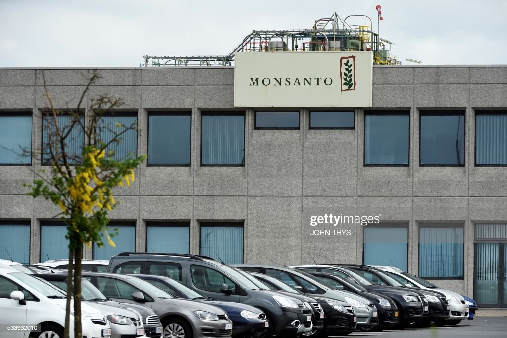 A picture taken on May 24, 2016 in Lillo near Antwerp shows the Monsanto logo on a building at the firm Manufacturing Site and Operations Center. German chemicals and pharmaceuticals giant Bayer, a household name thanks to its painkiller Aspirin, said this week that it is offering $122 per share in cash for Monsanto, or $62 billion (55 billion euros) in all. It would be the biggest takeover by a German group of a foreign company and would create a new world leader in seeds, pesticides and genetically modified (GM) crops. THYS