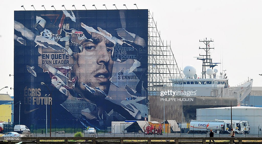 A picture taken on May 25, 2010 shows a 800 m2 portrait of French football international Franck Ribery in the northern city of Boulogne-sur-Mer, the place where the 27-year-old player of the Bayern's Munich was born. The project faced controversy when the Northern Pas-de-Calais region called to stop it after Ribery was questioned by French police on the under-age call-girl scandal which has rocked the France football team.