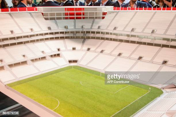 A picture taken on May 25 2016 shows a maquette of the Eurostadium Stadium in Brussels The Eurostadium is a proposed soccer stadium which would host...