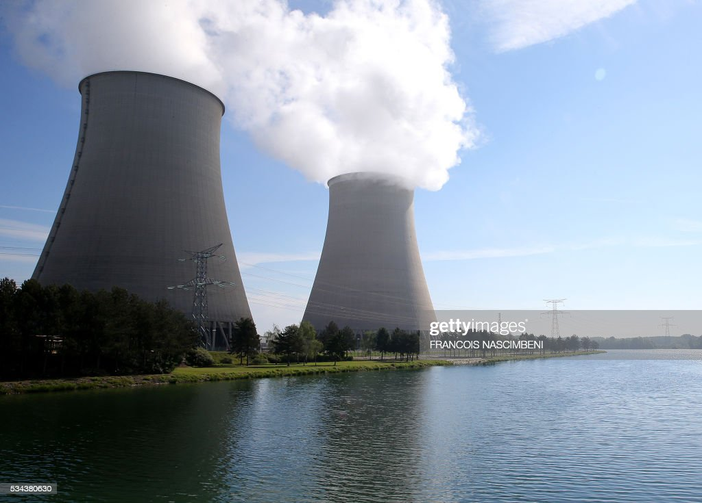 A picture taken on May 26, 2016 shows a general view of nuclear power plant of Nogent-sur-Marne. Workers at nuclear power stations in France were set to go on strike on May 26, joining a growing protest movement against controversial labour market reforms that has already severely disrupted fuel supplies. With two weeks until France hosts the Euro 2016 football championships, the country has been paralysed by a series of transport strikes and fuel shortages that has heaped pressure on the deeply unpopular Socialist government. / AFP / FRANCOIS
