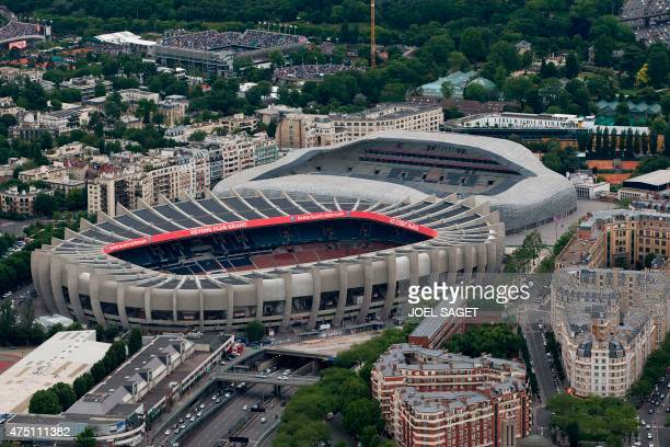 A picture taken on May 28 2015 in Paris shows the Parc des Princes and the Jean Bouin stadiums AFP PHOTO / JOEL SAGET