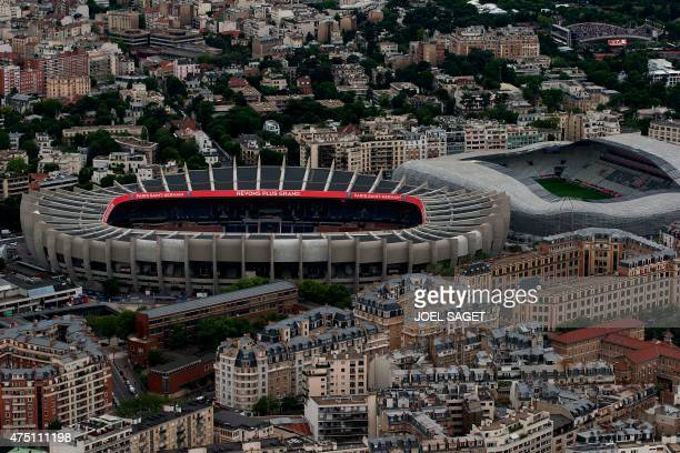 A picture taken on May 28 2015 shows the Parc des Princes and the Jean Bouin stadiums AFP PHOTO / JOEL SAGET