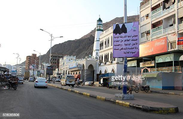 A picture taken on May 3 2016 shows a general view of the streets with banners hung by AlQaeda militants announcing Islamists' orders of streets in...