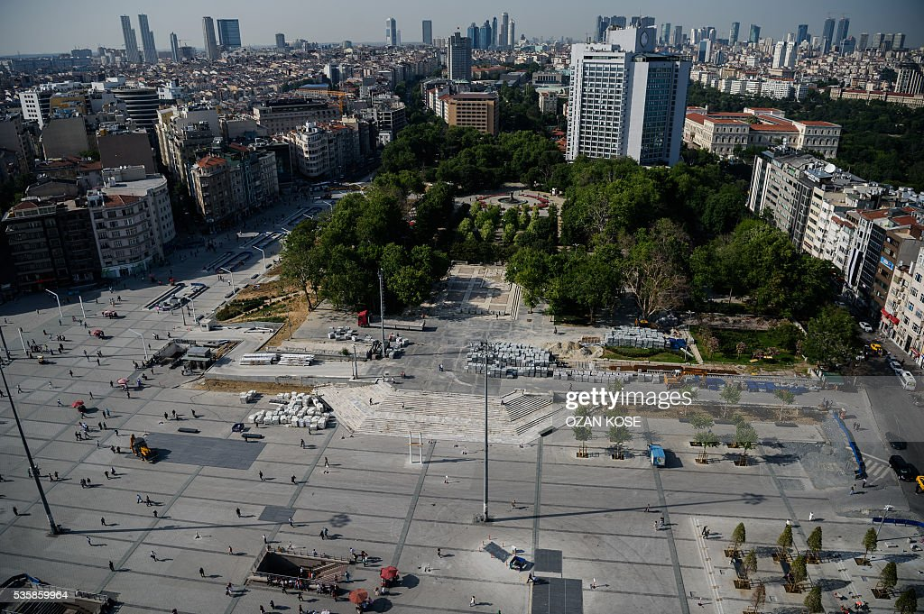 A picture taken on May 30, 2016 shows a general view of Istanbul's Gezi Park on the eve of the 3rd anniversary of the so-called Gezi Park protests. / AFP / OZAN