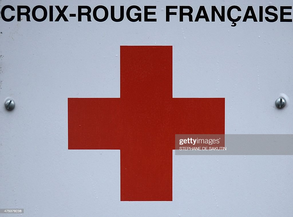 A picture taken on May 31 2015 shows a plaque at the headquarters of French Red Cross in Paris Reacting to a May 31 article in the French daily Le...