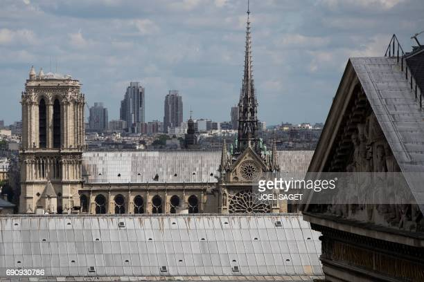 A picture taken on May 31 2017 in Paris shows the Pantheon and NotreDame cathedral / AFP PHOTO / JOEL SAGET