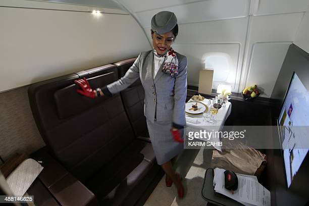 A picture taken on May 4 2014 in Abu Dhabi shows the interior of the first class suites of the new A380 aircraft of the United Arab Emirates airline...