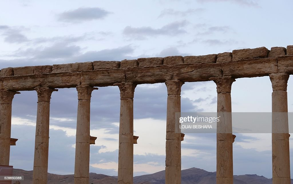A picture taken on May 6, 2016 shows a view of the Great Colonnade in the ancient city of Palmyra in central Syria. Syrian troops backed by Russian air strikes and special forces on the ground recaptured UNESCO world heritage site Palmyra from Islamic State (IS) group fighters in March 2016. BESHARA