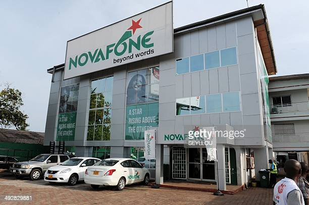 A picture taken on May 8 2014 shows the headquarters of Novafone a GSM company in Liberia in Monrovia Liberia is entering its second decade of...