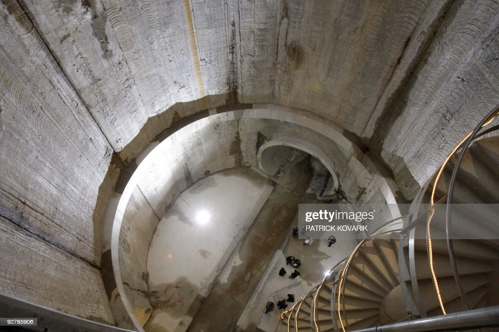 A picture taken on November 03 2009 in Paris shows the biggest rainwater reservoir of Europe on the day of its use Built 30 metres under the Seine...