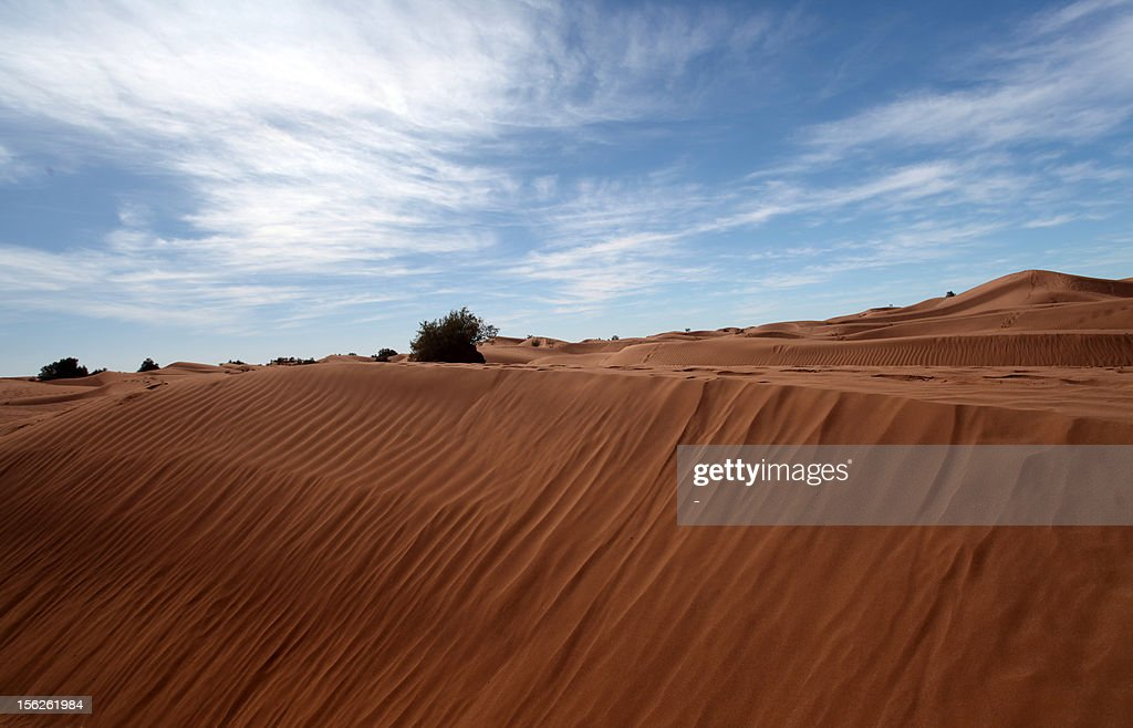 A picture taken on November 11, 2012 shows the sand dunes in Mhamid El-Ghizlane near the Moroccan city of Zagora. The Taragalte music festival kicked off in earnest under a spectacular star-lit sky, whit a list of women groups, from Morocco, Mauritania and Mali topping the bill. AFP PHOTO/STR