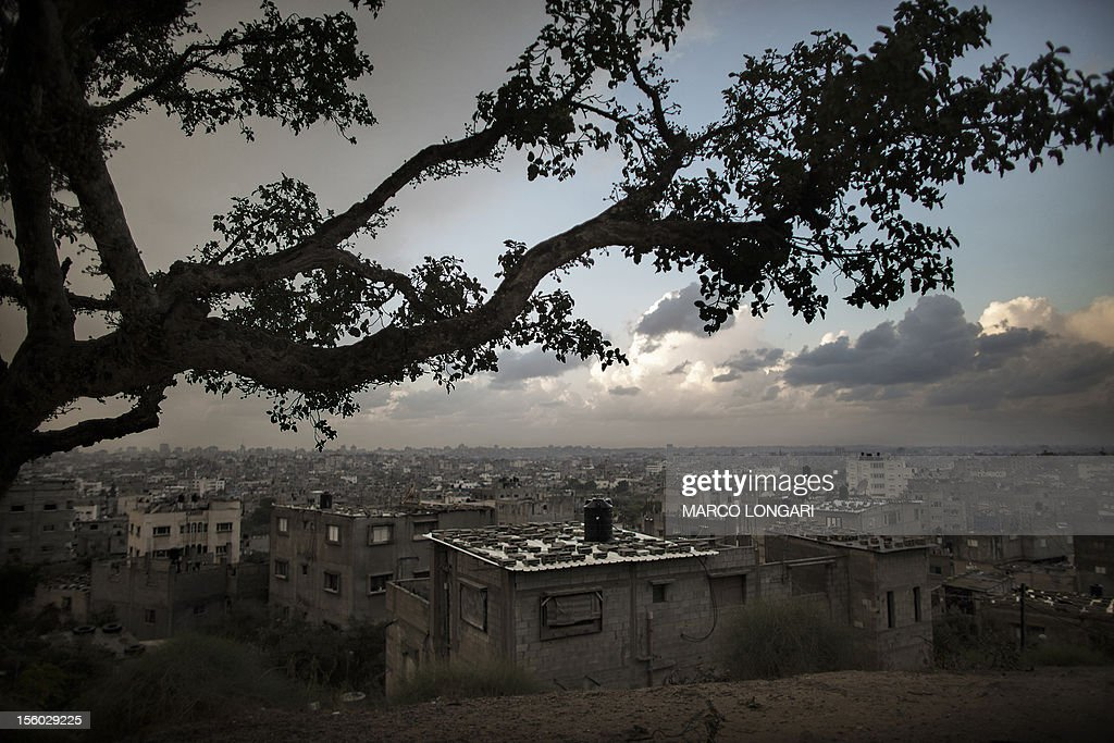 A picture taken on November 11, 2012 shows the skyline of Gaza City seen from a viewpoint in the al-Shejaya neighbourhood where four Gazans were killed by Israeli fire on November 10. Israeli shelling on November 10, injured 30 people after militants fired an anti-tank rocket at an Israeli jeep, wounding four soldiers, sources on both sides said.