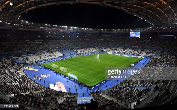 A picture taken on November 11 2016 shows a general view of the Stade de France stadium in SaintDenis north of Paris almost one year after the terror...