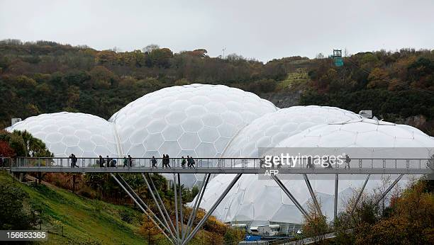 A picture taken on November 12 2012 shows a general exterior view of the biomes at the Eden Project in St Austell Cornwall southwest England The...