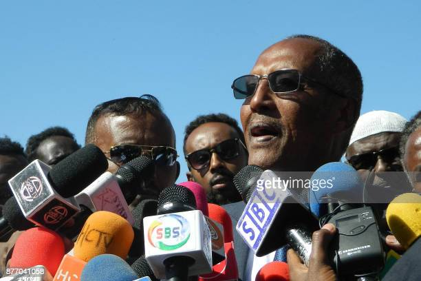 A picture taken on November 13 shows Muse Bihi Abdi presidential candidate for the ruling Kulmiye Party speaking to media after casting his vote for...