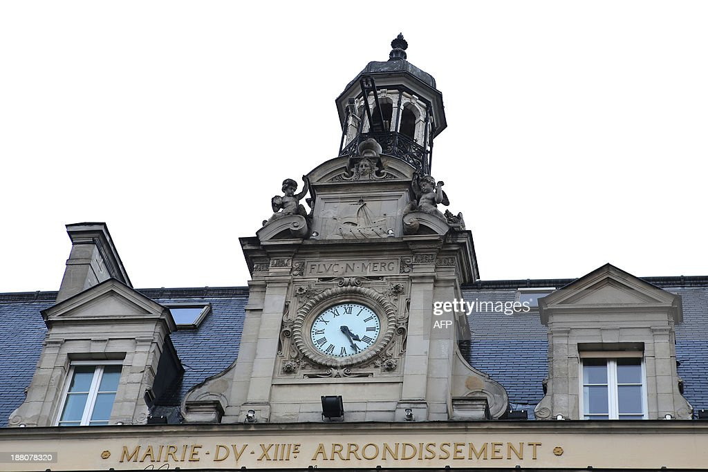 A picture taken on November 15, 2013, shows the belltower on the facade of Paris' 13th district townhall. Paris is divided into twenty districts, each one headed by a local mayor.