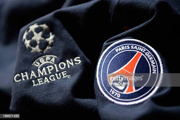 A picture taken on November 16 2012 in Paris shows an official jersey of the Paris SaintGermain football club displayed at the club's store on the...