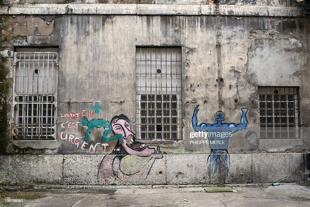 MALLE - A picture taken on November 16, 2012 shows graffities in a yard of the former Saint-Joseph prison in Lyon. The old prison situated in the center of Lyon will become a building complex in a few months, an original initiative in France where the old prisons are generally destroyed. AFP PHOTO PHILIPPE MERLE