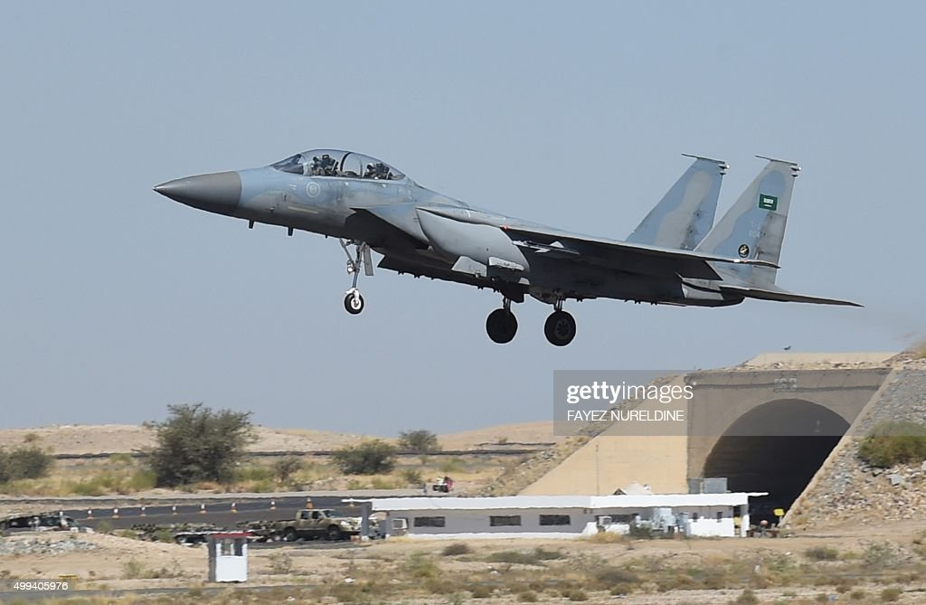 A picture taken on November 16 2015 shows a Saudi F15 fighter jet landing at the Khamis Mushayt military airbase some 880 km from the capital Riyadh...