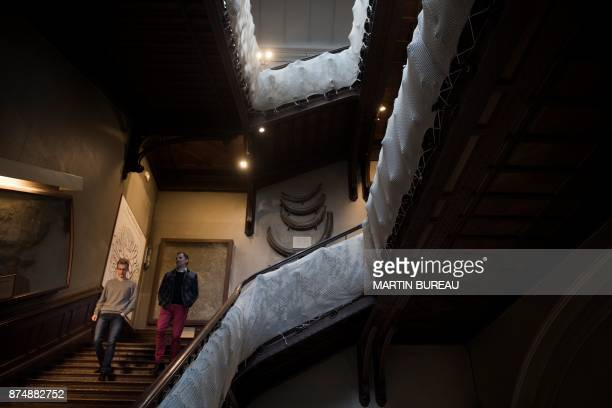 A picture taken on November 16 2017 in Paris shows people visiting the comparative anatomy gallery of the French museum of Natural History The museum...