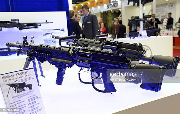 A picture taken on November 17 2015 shows a machine gun at the 19th worldwide exhibition of internal State security in Villepinte suburbs of Paris...