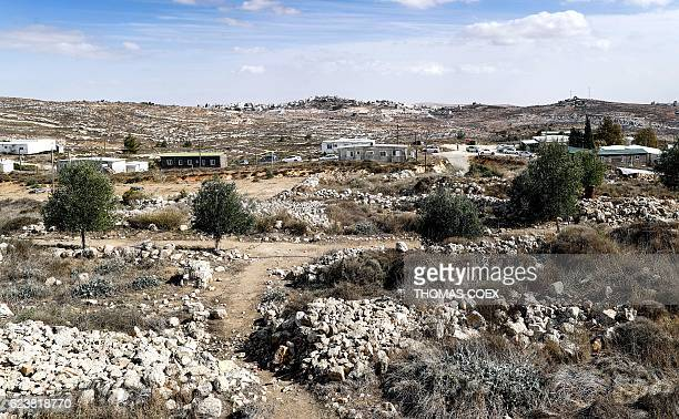A picture taken on November 17 2016 shows a general view of some caravans in the settlement outpost of Amona which was established in 1997 in the...