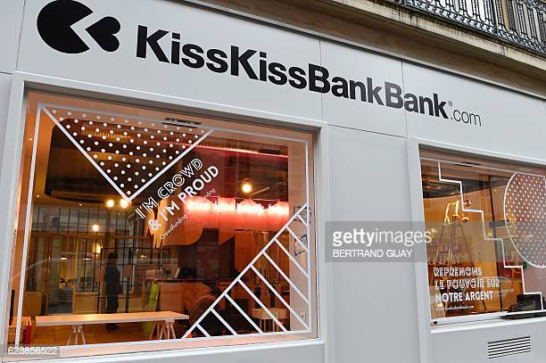 A picture taken on November 17 2016 shows the facade of the crowdfunding platform KissKissBankBank at the company's headquarters in Paris / AFP /...
