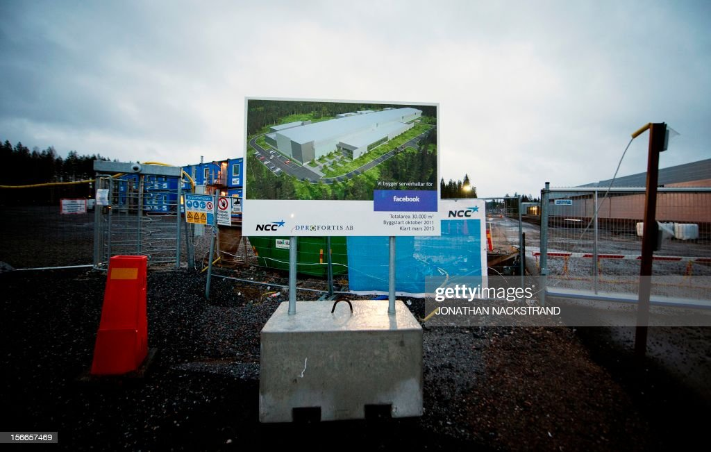 Picture taken on November 18, 2012 shows the construction site of the new Facebook Data Center and its first outside the US, in Lulea, in Swedish Lapland. The Lulea data center first server building is scheduled for completion by March 2013. AFP PHOTO/JONATHAN NACKSTRAND