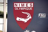 A picture taken on November 18 2014 shows a logo on the Costieres Stadium in Nimes southeastern France of French L2 football club Nimes Olympique of...