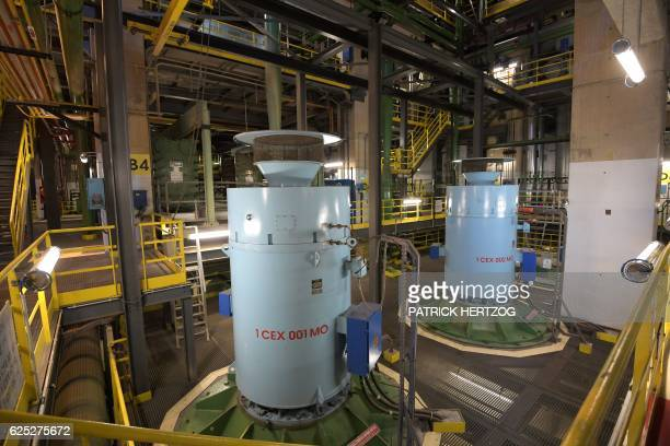 A picture taken on November 18 2016 shows the building where are placed the turbines of the nuclear power plant in Cattenom eastern France The...