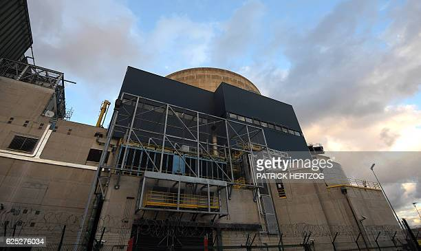 A picture taken on November 18 2016 shows the new security grill pans installed to protect the reactor building of the nuclear power plant in...