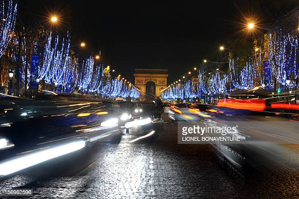 Picture taken on November 19 2008 in Paris of the ChampsElysees after mayor Bertrand Delanoe and French actress Marion Cotillard who won an Oscar for...