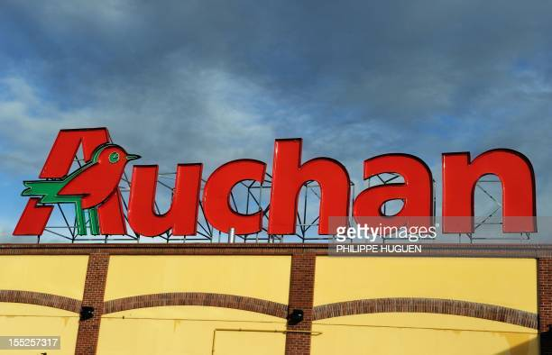 A picture taken on November 2 2012 shows a logo on the roof of a supermarket of The French retail giant Auchan in Englos northern France AFP PHOTO...