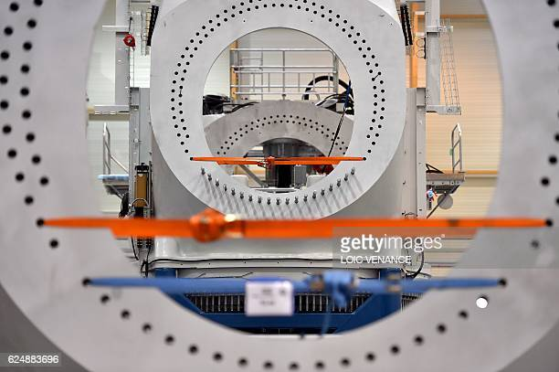 A picture taken on November 21 2017 at the US company General Electric factory in MontoirdeBretagne western France shows an offshore wind turbine...
