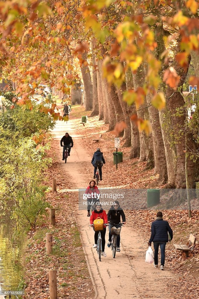 A picture taken on November 21, 2017 in Toulouse shows people riding their bicycle along the Canal du Midi.