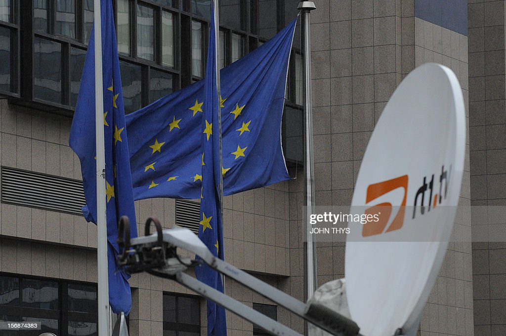 A picture taken on November 23, 2012 in Brussels, shows satellite antennas on broadcast trucks parked near the EU Headquarters, during a two-day European Union leaders summit called to agree a hotly-contested trillion-euro budget through 2020. European leaders voiced pessimism on reaching a deal on a trillion-euro EU bdget, as gruelling talks pushed into a second day with little prospect of bridging bitter divisions.