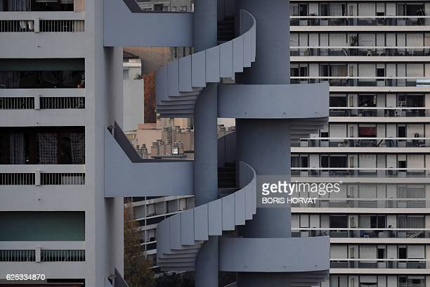 A picture taken on November 23 shows an outdoor stairway of a building in the East quarter of the French southeastern city of Marseille / AFP / BORIS...