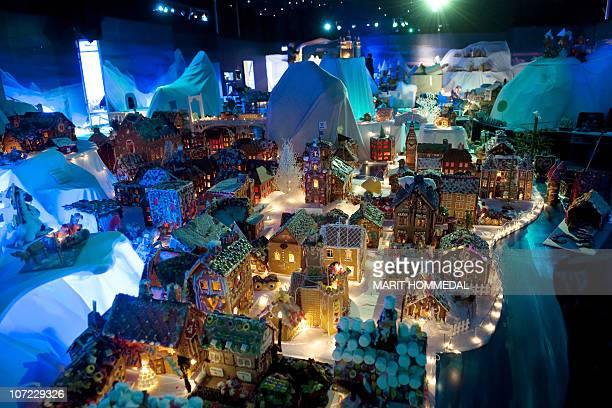 A picture taken on November 25 2010 shows the gingerbread town of Bergen made of hundreds of buildings boats bridges and other structures Schools and...