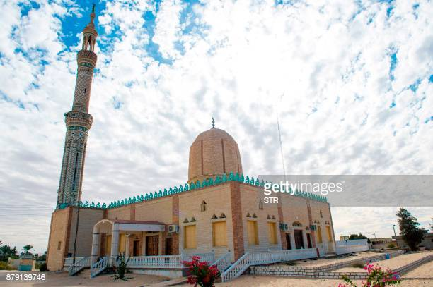 A picture taken on November 25 shows the Rawda mosque roughly 40 kilometres west of the North Sinai capital of ElArish after a gun and bombing attack...