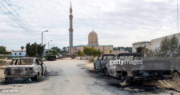TOPSHOT A picture taken on November 25 shows the Rawda mosque roughly 40 kilometres west of the North Sinai capital of ElArish after a gun and...