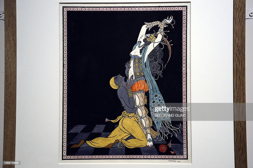 A picture taken on November 26, 2012 shows a watercolour by Georges Barbier (1913) featuring Russian dancers Ida Rubinstein and Nijinsky in the ballet Scheherazade, displayed during the exhibition entitled 'Les Mille et Une Nuits' (The thousand and one nights) at the Arab World Institute (IMA) in Paris. The event runs until April 28, 2013. AFP PHOTO/ BERTRAND GUAY