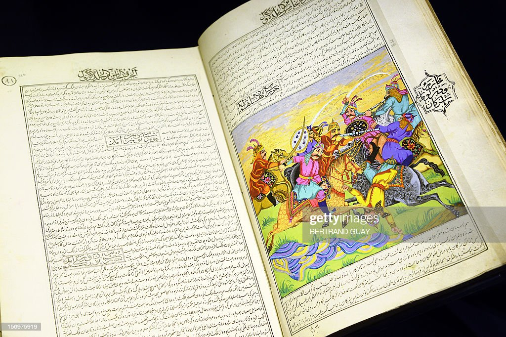 A picture taken on November 26, 2012 shows the 'Les Mille et une Nuits' book (The thousand and one nights) displayed during the eponym exhibition at the Arab World Institute (IMA) in Paris. The event runs until April 28, 2013.